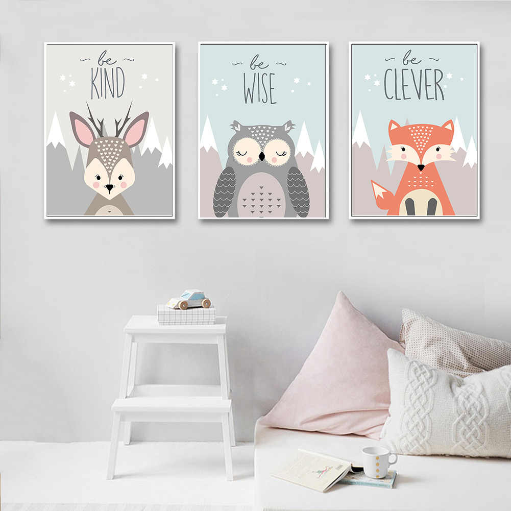 canvas painting cute Cartoon Fox Owl Deer Nordic Canvas Painting Art Print Poster Wall paintings Children Bedroom Home Decor