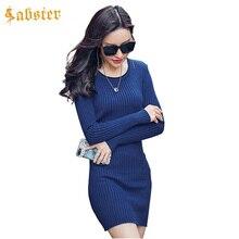 Для женщин Платья-свитеры Демисезонный эластичные узкие вязаное платье Сексуальная Bodycon Платья для женщин Vestidos Повседневное мини Пуловеры для женщин