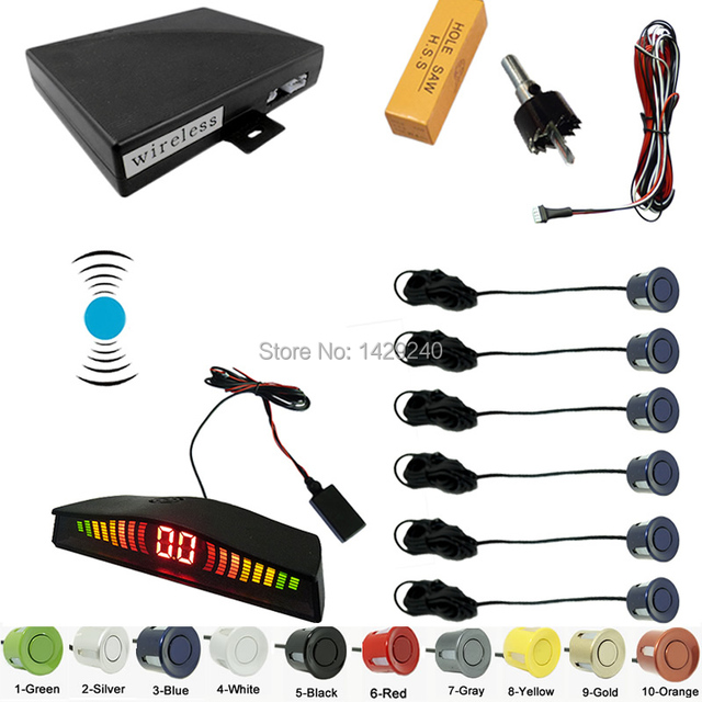 Car Wireless parking sensor with 6 sensors backup radar Black Silver Blue Gray Wihte Red Gold Yellow Orange Green #CA2067