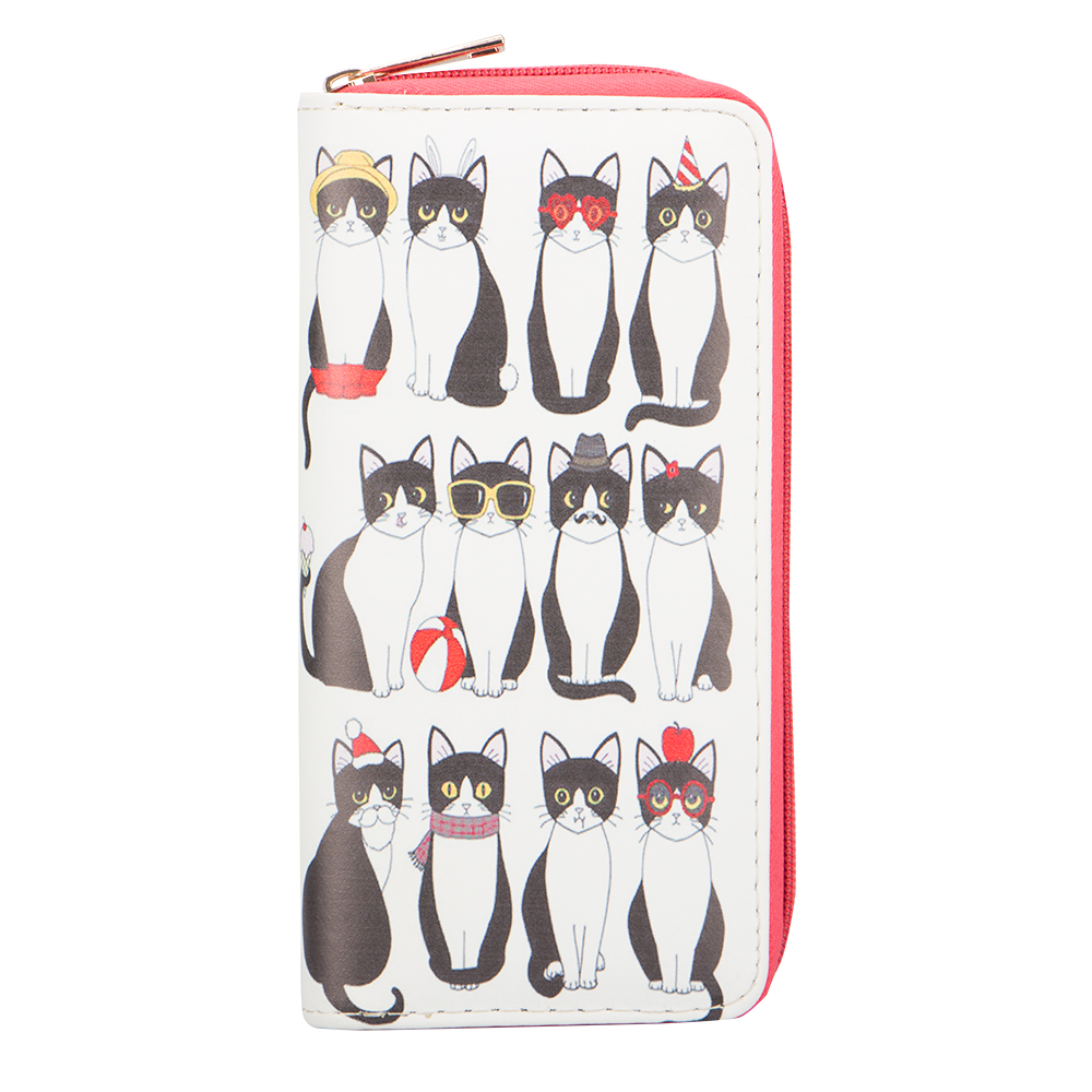 Sansarya New 2018 Animals Cute Funny Polymorphous Cats Print Woman Wallet Zipper PU Leather Clutch Phone Bag Female Purse цена