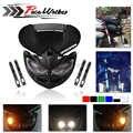 Verkleidung Kopf Lampe High/Low Strahl Motorrad Dual Scheinwerfer für F-Adler Apollo DC 12V 18W anwendbar zu Universal Motorräder