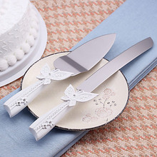 1 set Lovely western-style Butterfly decor Wedding Cake Knife + shovel with gift box Wedding Party supplies gift for bride groom