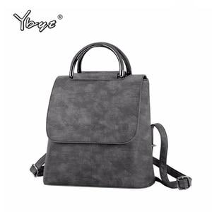 Image 1 - YBYT brand 2019 new PU leather women rucksack Multipurpose satchel female shopping shoulder bags ladies casual travel backpacks