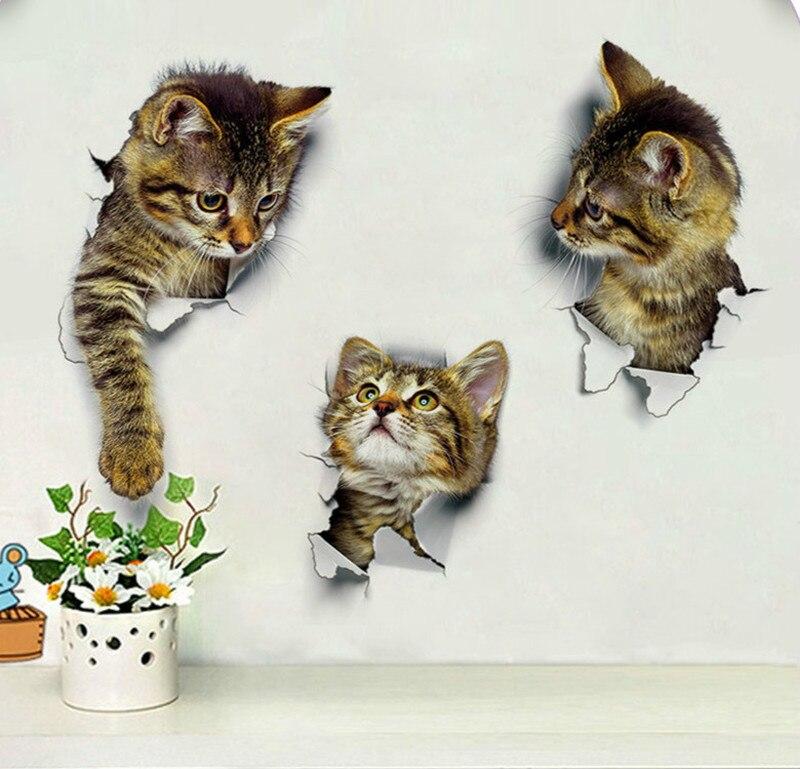 Отверстие просмотра яркие кошки 3D стены Стикеры Ванная комната туалет Гостиная Кухня украшения животных виниловые художественные наклейк...