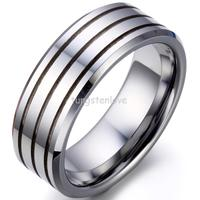 8mm High Polish Beveled Edge Triple Grooved Comfort Fit Tungsten Carbide Ring For Men Aniversary Engagement