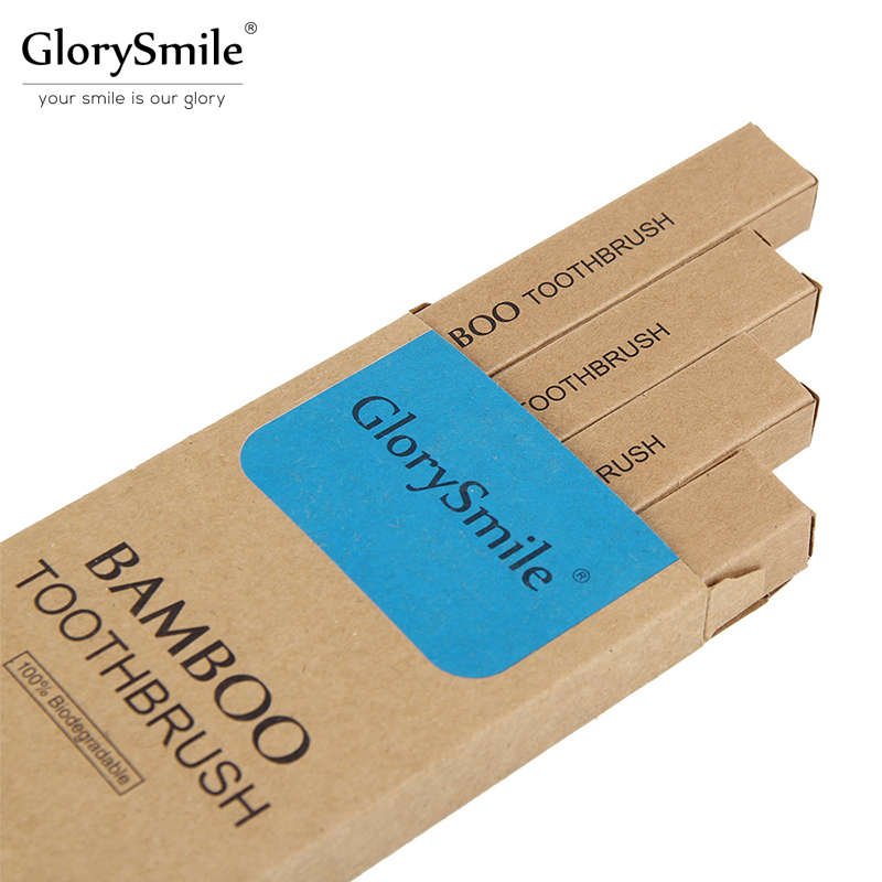 GlorySmile 4 Pack Environmentally Bamboo Toothbrush 100% Biodegradable Soft Bristles and Natural Wooden Handle for Deep Clean