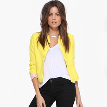M European and American womens V-neck casual jacket Simple simple solid color slim long-sleeved small blazer