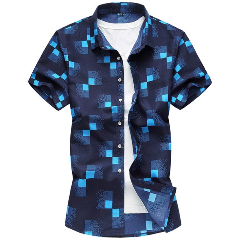 M-7XL Big Sizes Summer New Men's Shirt Brand Luxury Men Cotton Short Sleeves Turn-down
