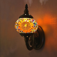 Artpad Vintage Glass Turkish Mosaic Lamps Handmade Bedroom Study Living Room Corridor Porch Aisle E14 Turkish Lamp on the Wall