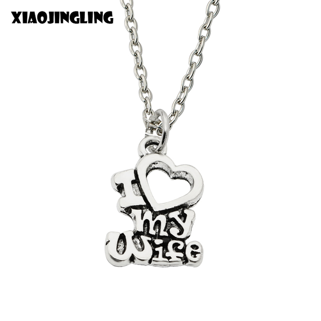 xiaojingling christmas gift i love my wife words heart retro silver charm pendant necklace best jewelry