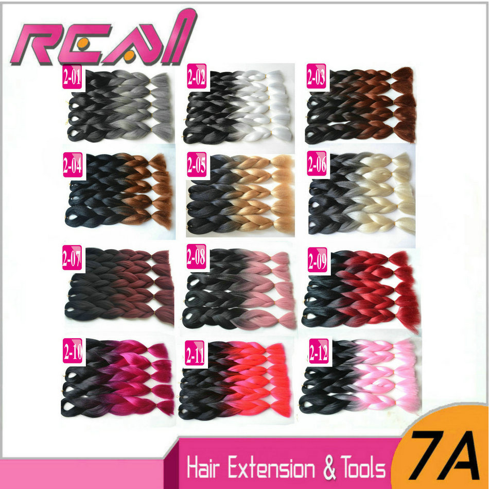 ФОТО 1Piece Ombre Kanekalon Jumbo Braiding Hair Colors Gray Purple Brown Blonde 24''100g Two Tone Synthetic Box Braids Hair Extension