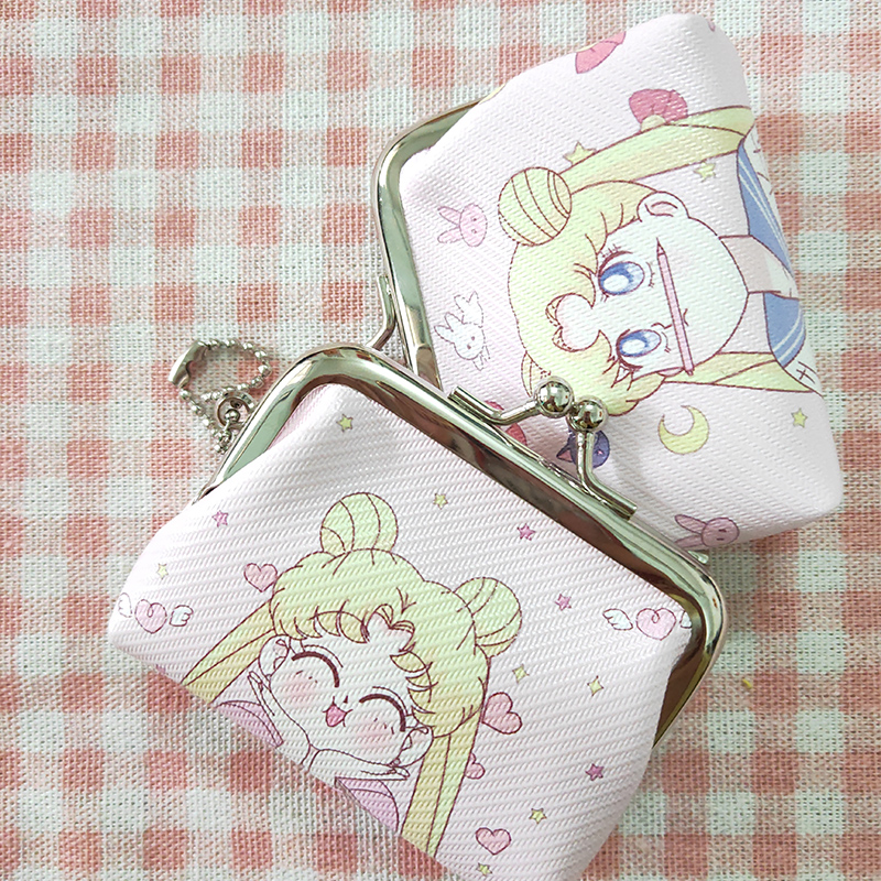 Women Japanese Cute Sailor Moon Frame Coin Purse Children Girls Mini Wallet PU Leather Portable Wallets Gifts