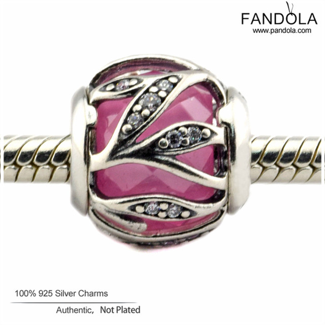 2016 Pink Nature's Radiance Beads Fits Pandora Charms Bracelet Original 925 Sterling Silver Beads DIY Fashion Jewelry Making