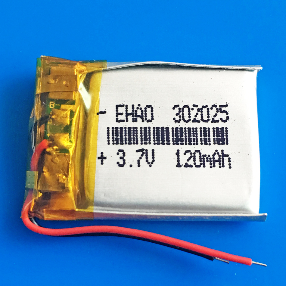 3.7V 120mAh <font><b>302025</b></font> 032025 Lithium polymer lipo rechargeable battery power for MP3 GPS bluetooth speaker bluetooth headset camera image