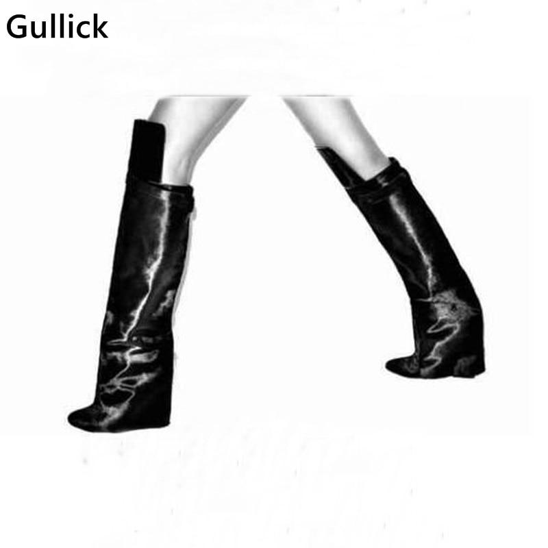Botas rojas que se pliegan por encima de la rodilla botas con cinturón alto cuña aumento de altura botas de Venta caliente 2019 zapatos de mujer de invierno multicolores sólidos - 6