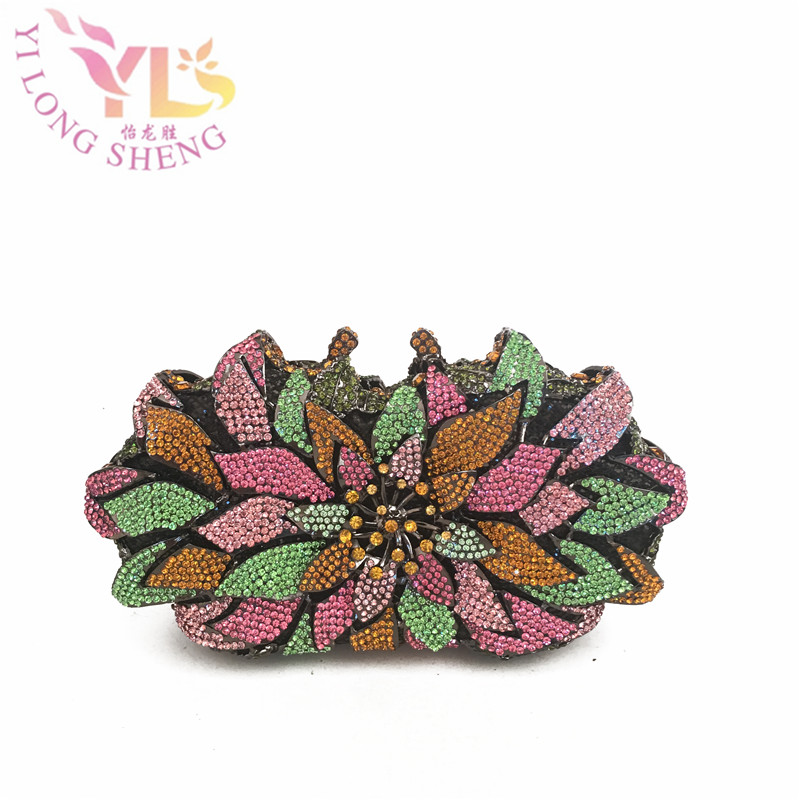 Women's Crystals Beaded Delicate Clutches Evening Bag Floral Design Bag Chain Clutches 2017 NEW Design Evening Clutches YLS-F96 lemon design chain bag