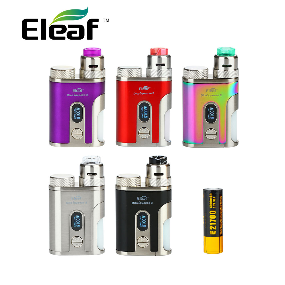 Clearance Eleaf iStick Pico Squeeze 2 Squonk Kit include 21700 Battery Coral 2 RDA Tank 8ml