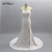 Sexy Champagne Lace Wedding Dress Spaghetti Strap Side Slit Sweep Train Custom Made Bridal Gowns 2018 Vestido De Casamento