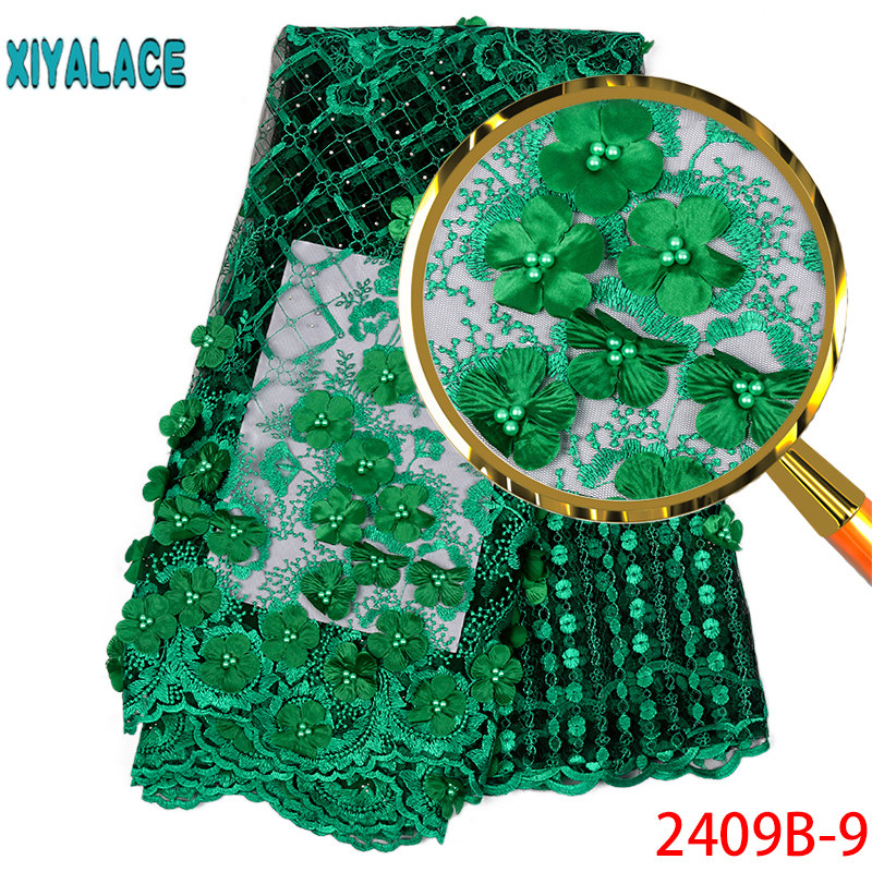 Hot sale African Lace Fabric 2019 Tulle Lace Fabric With Beads High Quality African Nigerian Women