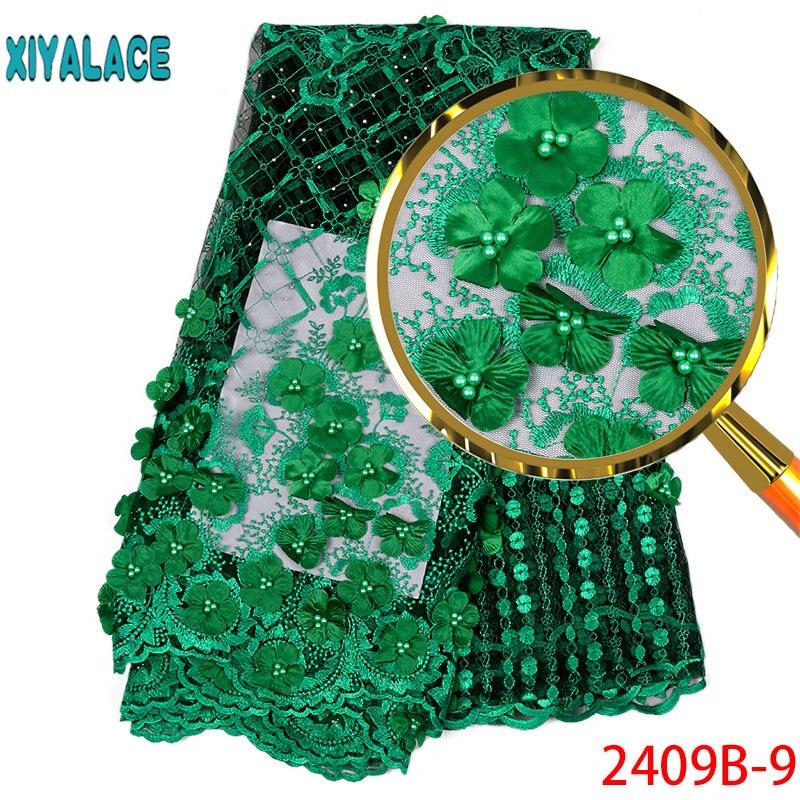 Hot koop Afrikaanse Kant Stof 2019 Tulle Lace Stof Met Kralen Hoge Kwaliteit Afrikaanse Nigeriaanse Vrouwen Voor 5yards PGC2409B 1-in Kant van Huis & Tuin op  Groep 1