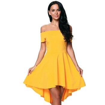 Verano Moda Mujer Amarillo Sexy Mini Vestido Plisado Manga Corta A Línea Elegante Formal Vestido De