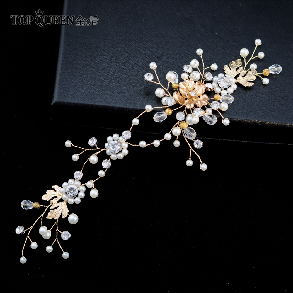 TOPQUEEN HP154 Bridal Hair Wedding Accessories Headpieces With Pearls And Crystal Gold Color Bride Alloy Hair Jewelry In Stock