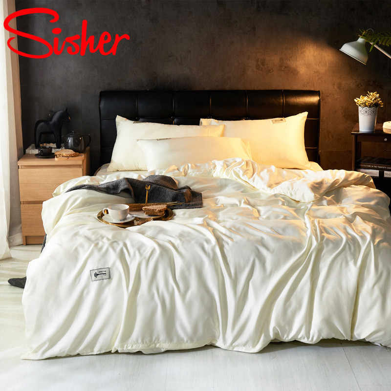 Sisher Luxury Silk Bedding Sets With Bed Sheets And Pillowcases Adult Classic Style Bedclothes Duvet Covers Single Queen King