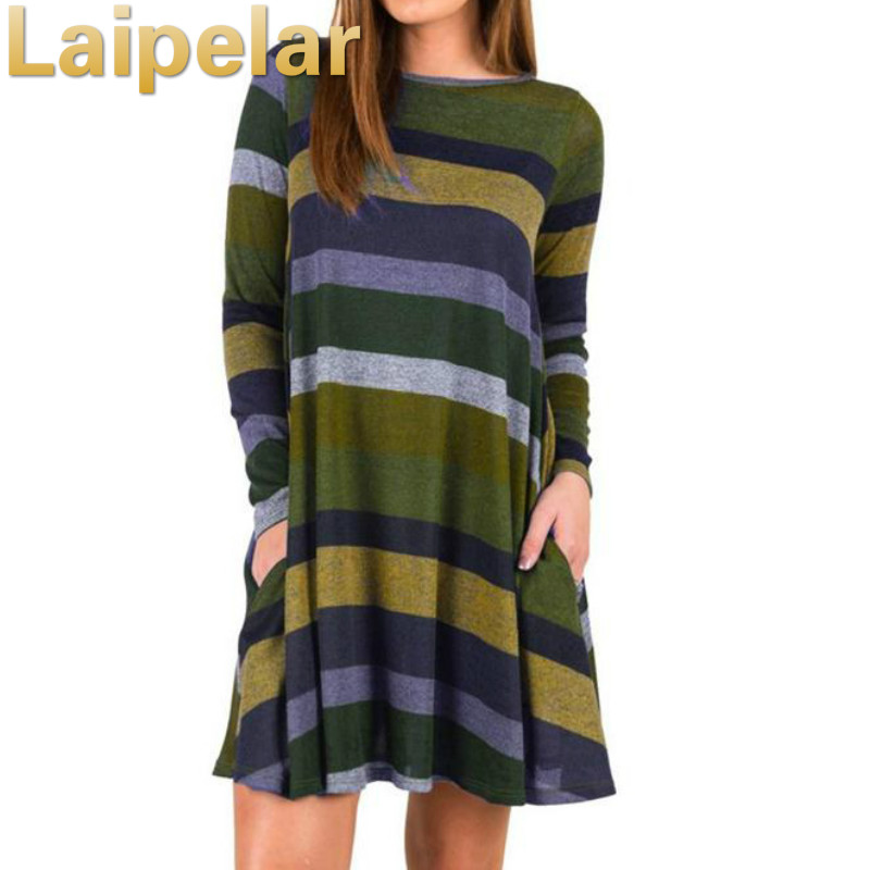 2018 Brand Women Long Sleeved Striped Dresses Spring Winter Female Cotton Clothing Ladies Slim Sexy Round Neck Hedging Dress in Dresses from Women 39 s Clothing