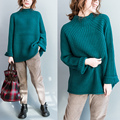 De Dove 2016 autumn and winter new large size women 's fashion semi - high neck  thick knitting loose knitted sweater blouse