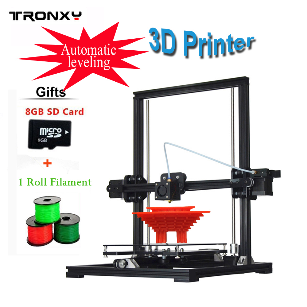 Tronxy 2017 New Aluminium Structure 3D Printer DIY Prusa i3 3d Printer Kit Heated Bed 1 Roll Filament 8GB SD Card As Gift tronxy 1 75mm pla filament for 3d printer