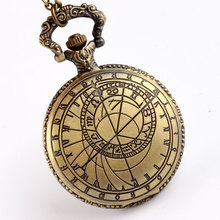 Free Shipping Antique Bronze Quartz Pocket Watches with Pendant Neckalce Chain Men Women's Modern Pocket Watch Unisex Gifts P208