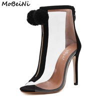 MoBeiNi Women High Heel Peep Toe Transparent Clear Ankle Boots Summer Fuzzy Ball Pompon Gladiator Sandals