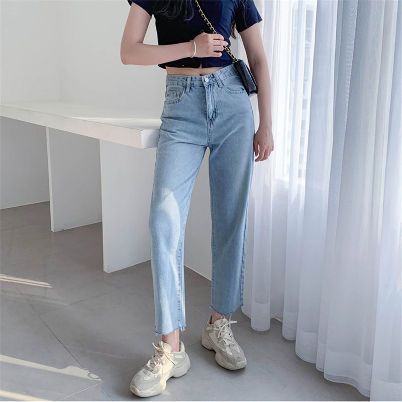 HziriP Hot   Jeans   Women 2019 New Arrival Female High Waist Solid High Quality Loose Light Washed Denim Ankle-Length Trousers