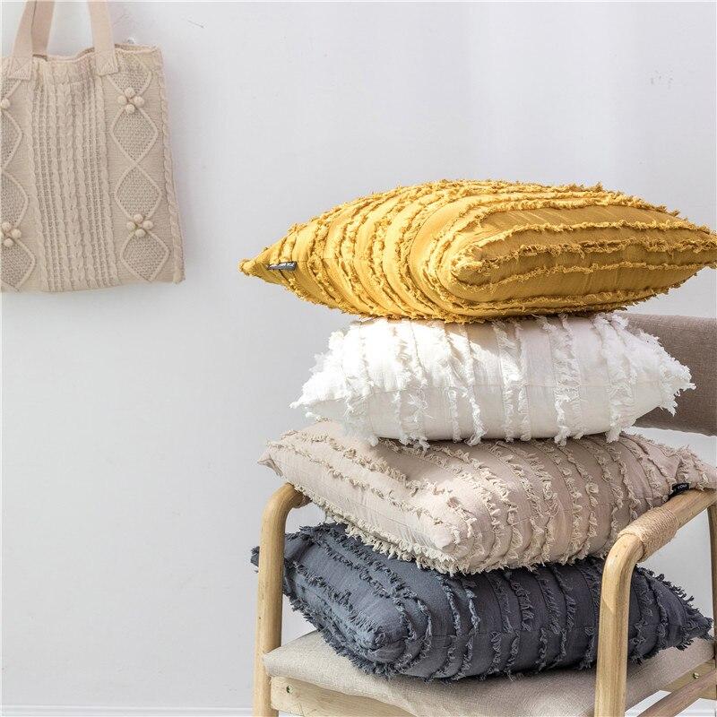 Branco Capa de Almofada Floral Borlas Praça fronha Amarelo Marfim Cinza Capa de Algodão Travesseiro 45x45 centímetros de Decoração Para Casa sofá 18