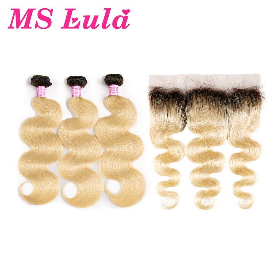 MS Lula Brésiliens 1b/613 Vague de Corps Ombre Cheveux Blonds 3 Bundles PCS Avec 13x4 Dentelle frontale Remy Extensions de Cheveux Pour Salon