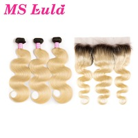 MS Lula Brazilian 1b/613 Body Wave Ombre Blonde Human Hair 3 Bundles PCS With 13x4 Lace Frontal Remy Hair Extensions For Salon