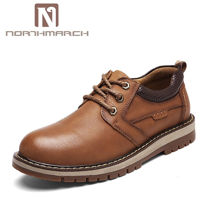 NORTHMARCH Hot Sale Genuine Leather Shoes Men Casual Shoes Man Loafers Lace-Up Comfort Leather Shoes For Men Zapatos Hombre men leather casual shoes lace up man flat luxury fashion chaussure homme soft zapatos hombre summer men genuine leather shoes