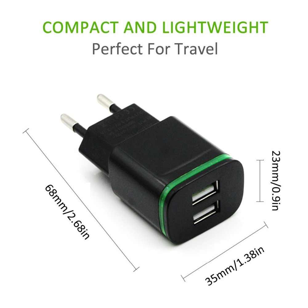 AIXXCO 5 V 2A oświetlenie LED z wtyczką UE 2 Adapter USB ładowarka ścienna do telefonu komórkowego urządzenie Micro ładowania danych dla iPhone 5 6 iPad Samsung