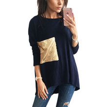 Women Stylish T-Shirts – Asymmetric – O Neck – Long – T Shirts with Sequined Top & Tee  Plus Size