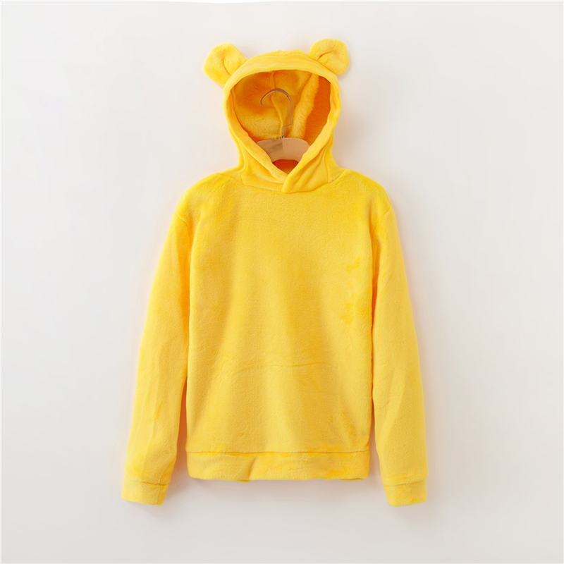 Women's Flannel Hoodies Sweatshirts Lovely With Bears Ears Solid Warm Hoodie Autumn Winter Casual Campus Pullovers Coat 5