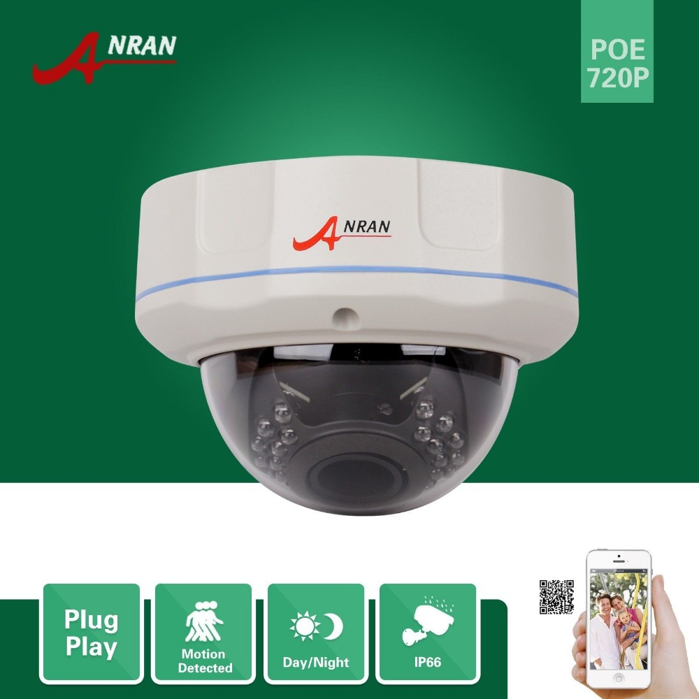 ФОТО ANRAN ONVIF HD P2P 1.0MP 720P Build-in PoE 30 IR Infrared Vandal-Proof Metal Dome Outdoor Security Network IP Camera