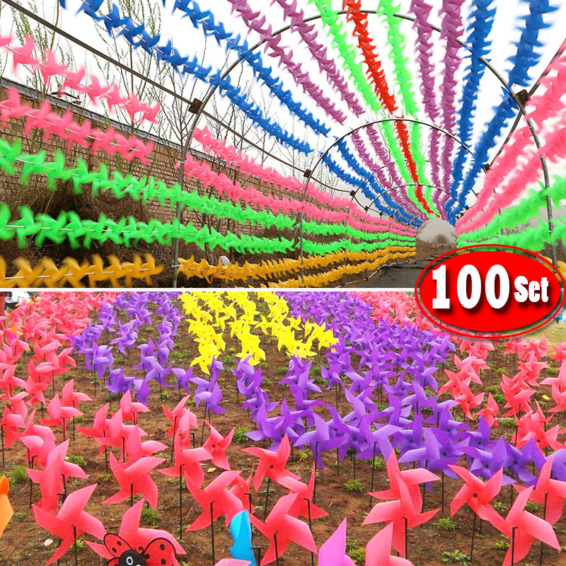 100set Wire Rope Fitting  Pole Waterproof Resistance Damage Plastic Windmill Toys Garden Lawn Party Decor Toy Gift For Kids