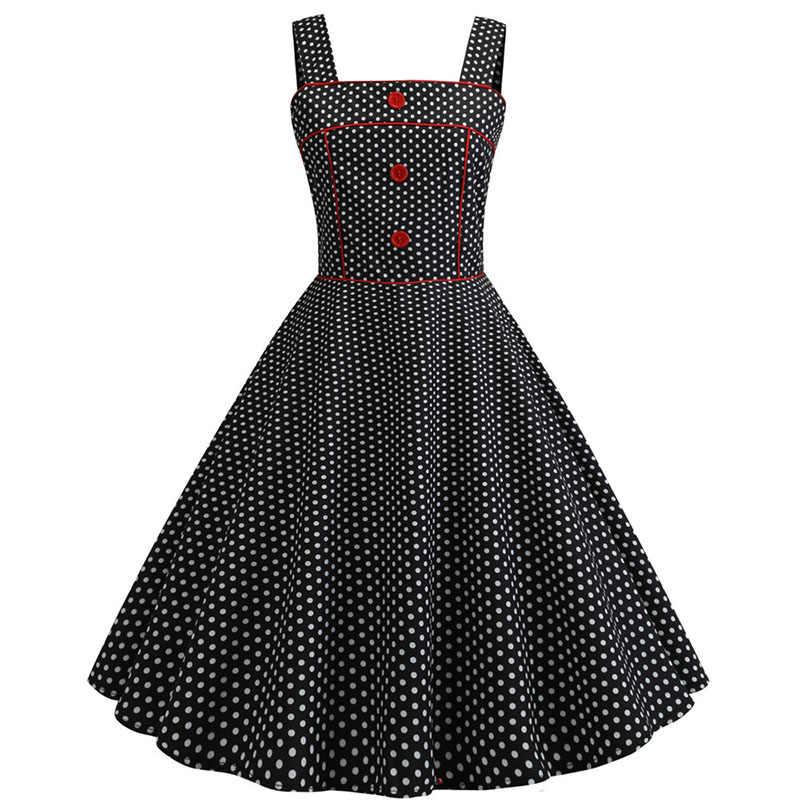 섹시한 빈티지 핑크 폴카 도트 여름 드레스 여성 2019 레트로 스파게티 스트랩 파티 핀 로커 빌리 드레스 플러스 사이즈 로브 femme