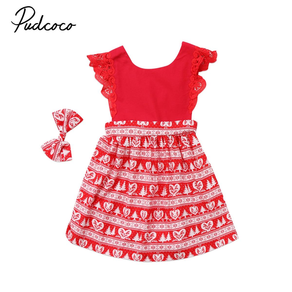 Helen115 Christmas Kids baby girl clothes Lace Sleeveless Bodysuit Dresses+Headband 0-24M 1-6Years