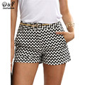 Dotfashion Shorts for Beach Summer Shorts for Women Black and White Straight Mid Waist Casual Pocket Shorts