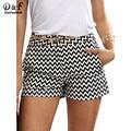 Dotfashion shorts de playa pantalones cortos de verano para mujer negro y blanco recto mid cintura casual pantalones cortos de bolsillo