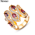 NEWSKY Brand Fashion Red Gem Rings For Women Classic Wedding Romantic Ring Gold Plated Jewelry Crystal Rings Female Ring #R0011A