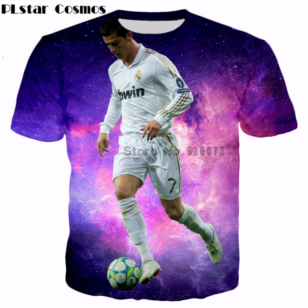 new arrival d1aaf 760b2 US $9.35 22% OFF|PLstar Cosmos hot sale 2017 summer Fashion T shirts New  design star player Cristiano Ronaldo 3d print Men/Women casual t shirt-in  ...