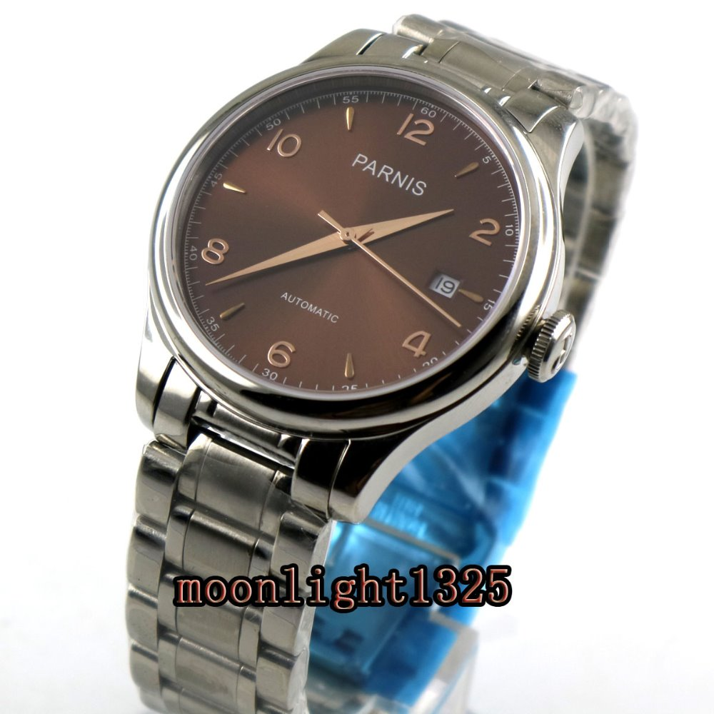 Parnis 38mm brown dial date sapphire glass 21 jewels MIYOTA Automatic movement Men's watch 38mm parnis white dial date sapphire glass miyota automatic mens watch p723