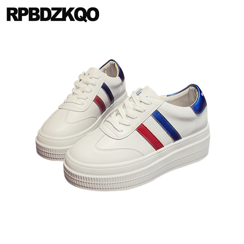 5ef03a93c738 women white trainers wide fit shoes ladies lace up elevator latest sneakers  flats muffin thick sole creepers walking size 34